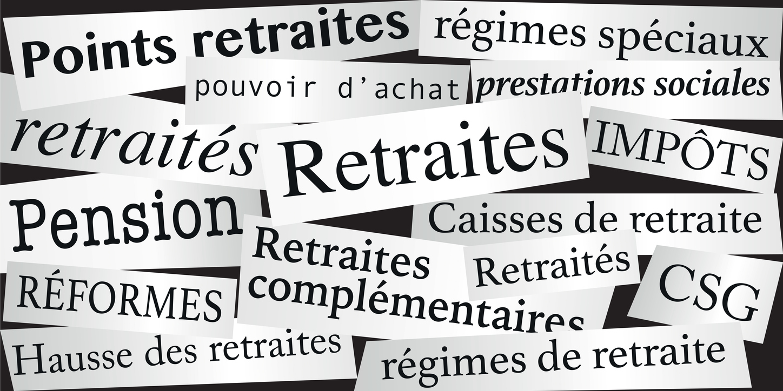Mots symbolisant les réformes sur l'âge de départ à la retraite et le pouvoir d'achat des retraités