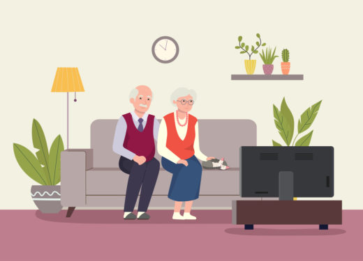 Grandmother, Grandfather And Cat Sitting On The Couchand Watching Tv . Vector Flat Illustration