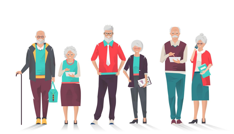 Ensemble de gens d'affaires senior moderne avec différents gadgets