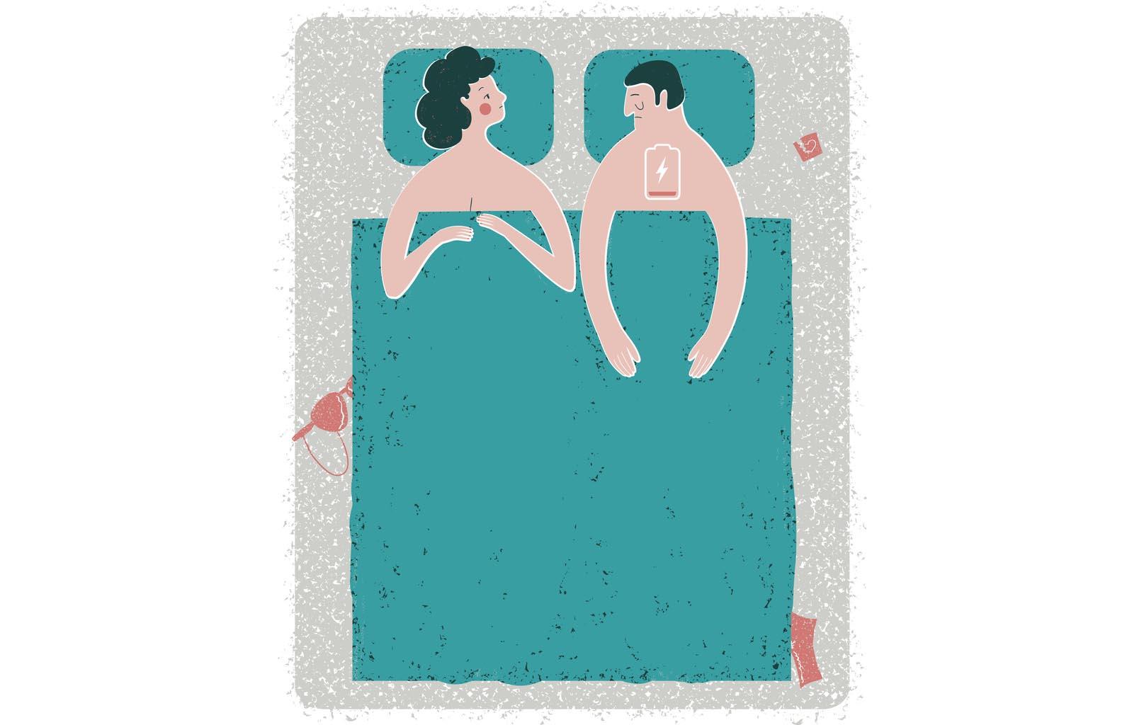 Illustration vectorielle de situation problème intime dans son lit