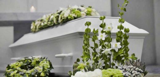 Cercueil Avec Fleur De Deuil