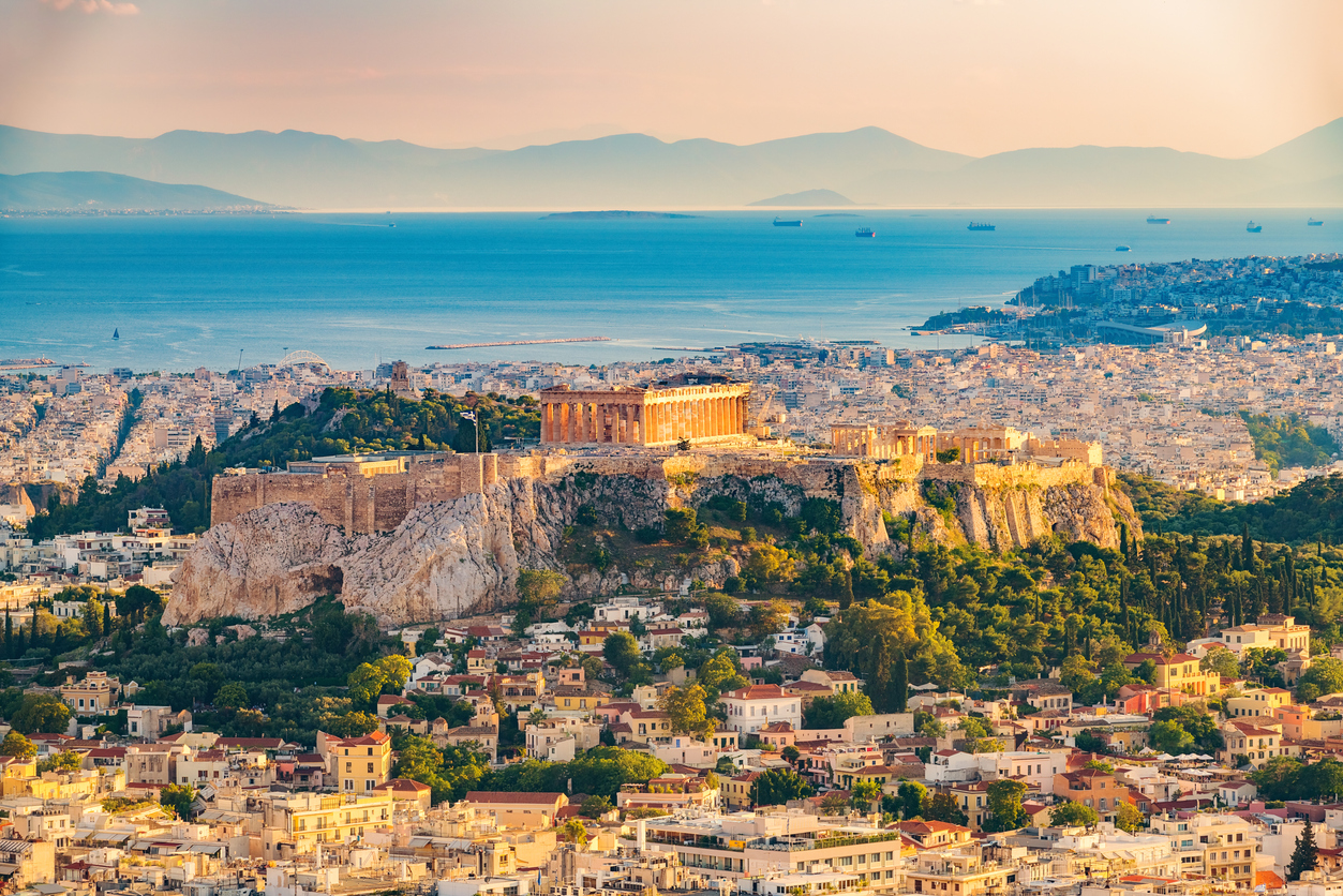 Vue aérienne sur Athènes, Grèce
