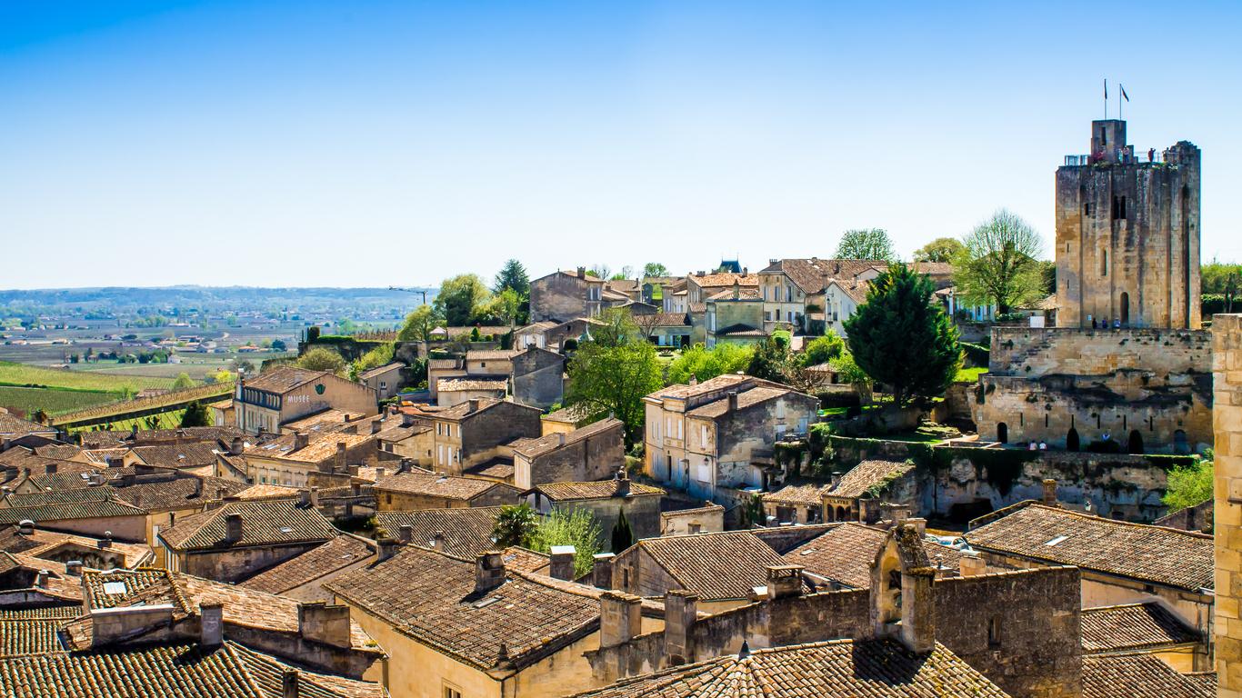 Vue panoramique sur Saint-Emilion près de Bordeaux