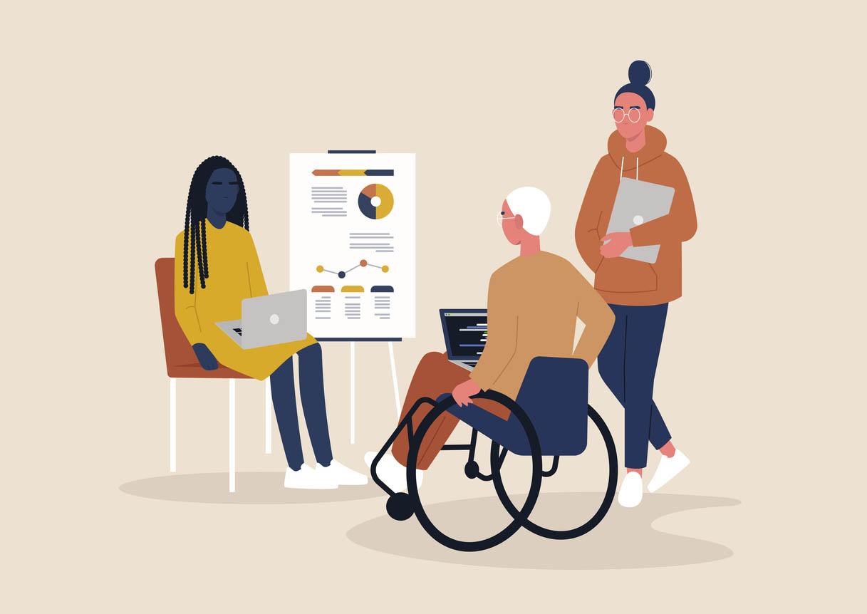 illustration fauteuil roulant devant un schema de pension d'invalidite