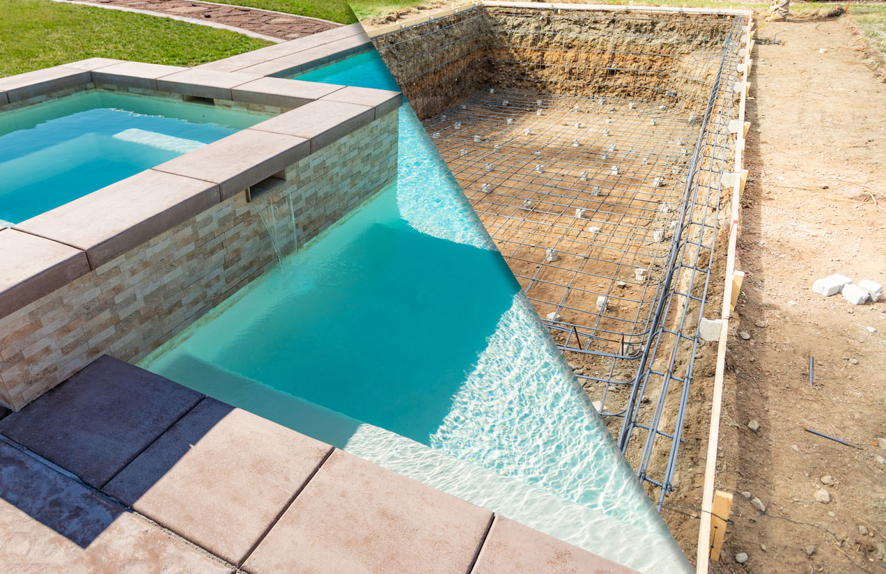 avant apres construction piscine
